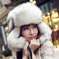 Wholesale New Womens Mens Winter Faux Fox Fur Trapper Hats Thick Winter Warm Fox fur Ear Warmers Anti wind Fur Caps Hats WH07