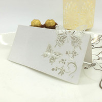 Wholesale 10Pcs Romantic White Carved Butterfly Table Mark Name Place Card for Wedding Birthday Banquet Decoration H15166