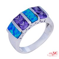 Cheap Finger Wedding Ring Fine Jewelry Lady's Fashion Amethyst Blue Sapphire AAA Zircon opal anel 18KT White Gold Filled Ring F3344-R6