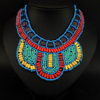Wholesale India Style National Hand Made Colorful Wood Beads Collar Fashion Choker Pendant Jewelry Suitable For Women Clothes Match CE3360