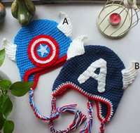 baby hat designs - hot sale Design Despicable me Superman Batman Spider Man Captain America Mickey Minne hat baby Costume Handmade Crochet Knitted Hat
