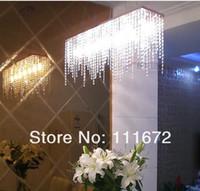 kitchen islands - LEDVAS Modern Linear Rectangular Island Dining Room Crystal Chandelier size L800 w200 H1200mm