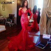 apple pl - Red Long Sleeve Sexy Mermaid Evening Dresses Deep V Neck Vintage Lace Applique Sequins Tulle Prom Party Gowns Pl