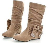Wholesale Hot New Fashion Women Winter Boots Bow Mid Calf Flat Boots Shoes