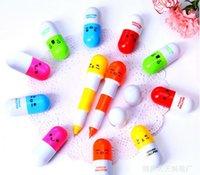 Wholesale 2015 Pill pens Fashion Cute Lovely Cartoon animal telescopic Ballpoint Pens creative ball point pen Corful pill pens mix color