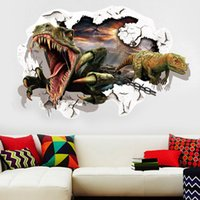 Wholesale Through the wall D dinosaur bedroom bedside stereo creative living room sofa background wall stickers stickers stickers children room