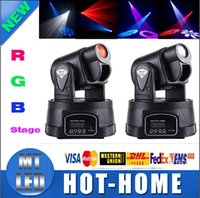 Wholesale x1 by DHL Mini LED Moving Head Light Spot RGB Stage Lighting Party Dj Disco Club W RGB Multicolor Change DMX Controller Spot Wash Light