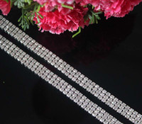 base shoe trim - Yards DIY Rows Clear Rhinestone Chain Trimming For Mobile Garment Shoes Jewelry Silver Base SS12 mm