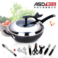 Cheap Wholesale-Free shipping Coating wok qn8332 electromagnetic furnace general cast iron wok