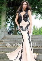 nude dress - Stunning Style Nude Dresses Black Lace applique Embellishments Evening Dress High Neck Backless Prom Dress