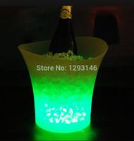 Wholesale 5 liters Volume plastic led ice bucket color changing bars nightclubs LED light ice bucket Champagne wine beer ice bucket bars
