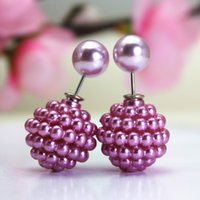 channel - 2015 new design fashion brand jewelry double side pearl stud earrings for women luxury candy cute beads cc channel earings