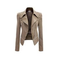 Wholesale S5Q Womens Slim Handsome Casual PU Soft Leather Zipper Long Sleeve Jacket Coat AAAFTF