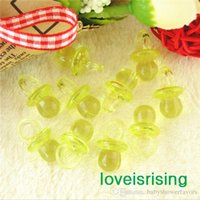 Wholesale New Arrivals mm mm Mini Acrylic Clear Citrine Yellow Baby Pacifier Baby Shower Favors Cute Charms cupcake decorating
