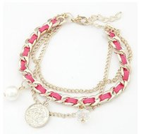 Wholesale NEW punk leather Bracelet chainmulti layer fashion crystal pearl mix match metal chain hand accessories women