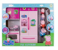 Wholesale 2015 new arrival Peppa Pig Family Kitchen Toy suit Pepe pig dolls lights music Peppa garderobe toy for the children s day Gifts EMS