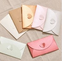 Wholesale Pearl Pink Red Gold Paper Envolope Blue Candy Colors Invitation Message Card Packaging Heart Clossure Envelopes