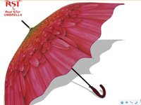 automatic lotus - Hot sale fashion china lotus flower long handle rain women umebrella semi automatic umbrella