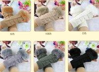Wholesale fashion women s Knit Crochet fur arm warmers gloves women Fingerless long Gloves