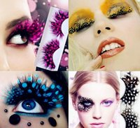 Wholesale 42 Kinds Colorful Beauty Feather False Eyelashes Eyes Makeup Feather eyelashes for party red dots stage exaggeration