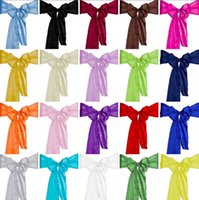 Wholesale Satin Chair Cover Sash Bow Wedding Party Supplies Back Tie Ribbon Decoration A336