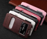Wholesale retro vintage dual window Slim Flip Stand leather case cover pouch for Samsung Galaxy Grand Prime G530 flip case