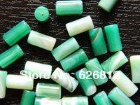 Envío libre (2 filamentos / porción) perlas naturales verdes 6 * 12 mm de columna de ágata ónix