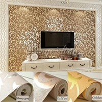 Wholesale 3 Color Golden Coffee Silvery Grey High End M Luxury Embossed Patten Textured Wallpaper Rolls Good Light Fastness order lt no track