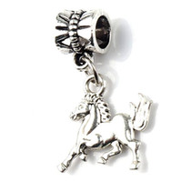 antique hobby horse - MIC x26mm Antique Silver Cute Strong Running Horse Metal Big Hole Beads Dangle Fit European Charm Bracelets Jewelry DIY B181