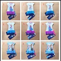 Cheap 2015 summer 2pcs baby gril baby suit elsa T-shirt + jean pant set children clothing anmy