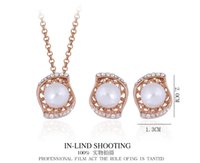 Wholesale Luxury Jewelry Sets K gold plated water drop or eyes shape shell pearl Austrian crystal pendant necklace and earrings stud