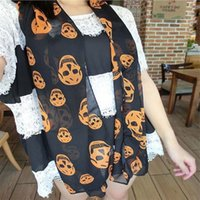 Wholesale Durable Luxury Brand New European Style Fashion Print Scarf Women Adult Skull Kito Pattern Chiffon Muffler Skull Scarves Shawl