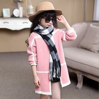 Wholesale Childrens Sweater Jackets - Wholesale-Girls Sweater Jackets Coat 2016 Winter Fashion Warm Hot Sale Clothes Childrens Baby Girls Lace coat outerwear Clothing ZZ-1116