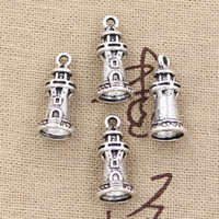 antique lighthouse - 80pcs Charms castle lighthouse mm Antique Zinc alloy pendant fit Vintage Tibetan Silver DIY for bracelet necklace