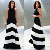 white maxi dress - 2015 Fashion Summer Dresses Womens Stripe Maxi Long Chiffon Dresses Sexy Sleeveless Black White Dress Vestidos Party Casual Dress B17