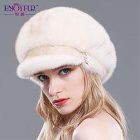 Wholesale Women s Mink fur hat winter warm visors hats multicolor thick flexible winter fur caps new fashion good quality headdress