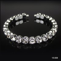 Wholesale Designer Row Bridal Wristband Jewelry Accessories In Stock Rhinestone For Wedding Party Stretch Bangle Bracelet Crystal