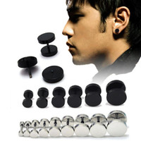 barbell earrings - 1Pair Man Barbell Punk Gothic Stainless Steel Ear Studs Earrings Black Siver