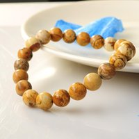Wholesale Fashion Statement natural stone Picture Jasper MM round bead bracelet bangle Crystal jewelry For women men