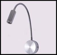 Wholesale 120V V V V LED Hoses Wall lamps Flexible Plumbing home decor hotel light Bedside Reading lamps1W W wall sconces aluminum novidades