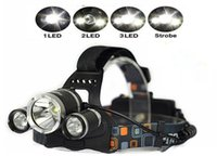 Wholesale 3 LED Headlight Lumens CREE XM L T6 Head Lamp High Power LED outdoor Headlamp mah battery Charger car charger