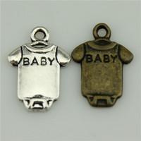 Cheap 300pcs lot 17*12mm vintage 2 colors antique silver, antique bronze plated zinc alloy baby cloth charms