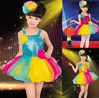 Wholesale 2016 New Colorful Sequins Straps Lanterns Skirt Children Performance Clothing ICD Ballet Latin Dancewear Girls Tutu Skirts color