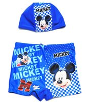 Cheap 2015 New Cartoon Mickey Mouse Printed Children Boys Swim Trunks With Cute Swimming Cap Summer McQueen Baby Beach Wear Blue Yellow Red L2105