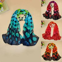 Wholesale New Women Chiffon Scarf Polka Dot Circle Print Gradient Color Long Shawl Pashmina Beach Scarf GA0095