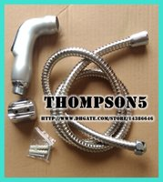 "Plastic wall mounted Round Toilet Bathroom Handheld Portable bidet Shower set Diaper Sprayer Shattaf spray Sprayer head+1.2m hose+wall holder G1 2"" TS078SL-SET Silver"