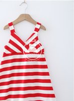 Cheap Fashion Girls Vest Dress with Stripe Comfortable Beautiful Sexy Sling V-neck for Summer Free Shipping