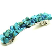Wholesale Fashion Statement Natural stone Turquoise headwear Crystal gemstone Chunky hair clip jewelry for women christmas gifts