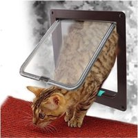 Wholesale 1pcs Pet Way Magnetic Lockable Flap Doors Safe For Cats Locking System Doggy Flap Door S M L Brown White