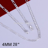 Wholesale 16 to MM Sterling Silver plated fashion snake chain necklaces for men jewelry High quality LKN049